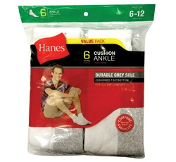 Hanes Men's White Quarter Socks-6pk.