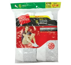Hanes Mens Big & Tall White/Grey Quarter Socks
