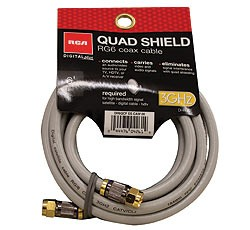 Quad-Shield RG-6 High Quality 6 Ft. Coaxial TV Cable