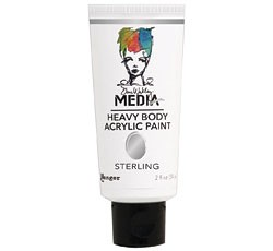 Dina Wakley Media Heavy Body Metallic Acrylic Paints  Sterling